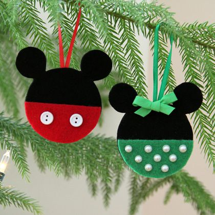 Mickey and Minnie Felt Ornaments