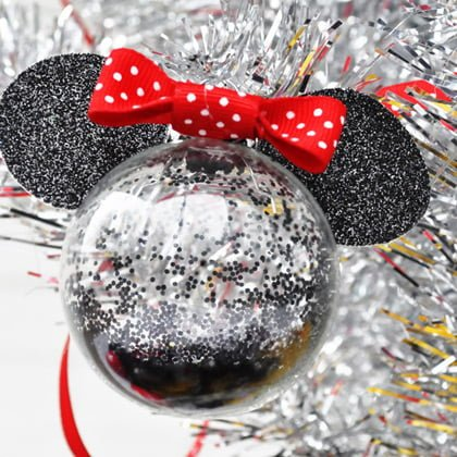 Minnie Mouse Glitter Ornaments